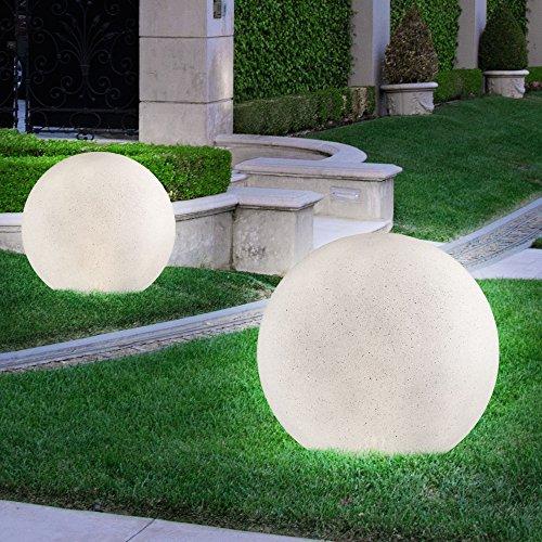2er Set LED Solar Leuchten Steck Beleuchtungen Außen Lampen IP44 Stein Optik Durchmesser 30 cm