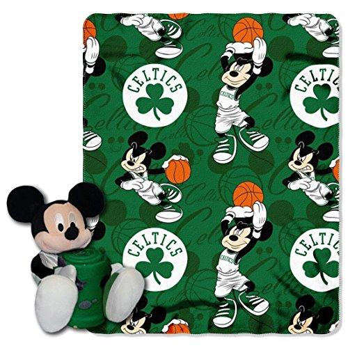 Northwest Boston Shamrock Celtics NBA Basketball Mickey Mouse Throw and Hugger Pillow Set