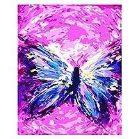 数字キットによる 塗DIYの油絵の素材パッケージは、初心者と大人がキャンバスに番号でペイントすることを目的 40x50cmフレームレス - 1381抽象的な蝶の踊り,40×50cm(フレームなし)
