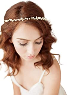 ULAPAN Bridal Headpiece Handmade Wedding Hairband brdial Headbands for Wedding Floral Lace Head Band