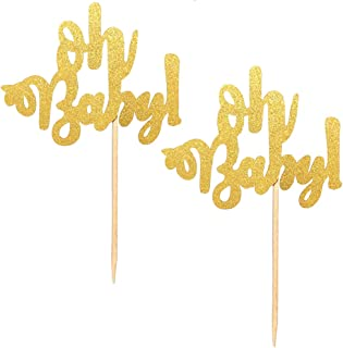 24-Pack Oh Baby Cupcake Picks, Gold Oh Baby Cake Toppers for Baby Shower Party Decorations Supplies