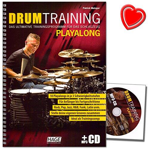 Drum Training Playalong - Das ultimative Trainingsprogramm für das Schlagzeug von Patrick Metzger - mit CD und bunter herzförmiger Notenklammer