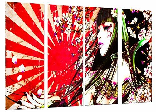 Cuadro Fotográfico Original Chica, Mujer Samurai, Pelo Largo, Flores Tamaño total: 131 x 62 cm XXL