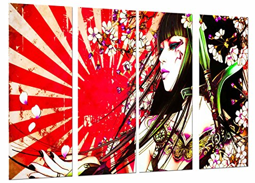 Cuadros Camara Poster Fotográfico Original Chica, Mujer Samurai, Pelo Largo, Flores Tamaño total: 131 x 62 cm XXL, Multicolor