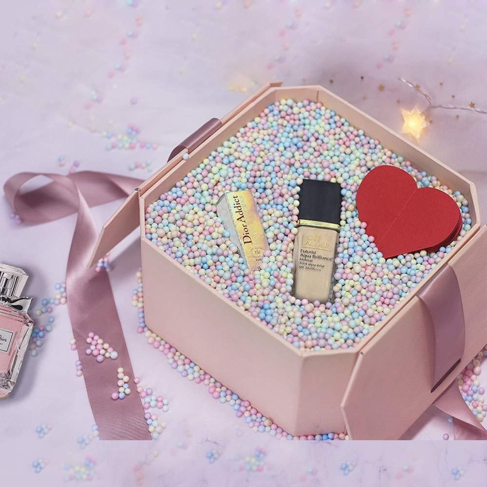 Hbsite Caja de regalo de reutilizable Creative box con caja de regalo sorpresa con relleno (cuentas de espuma de color) para bodas, cumpleaños, Navidad 21 * 21 * 12 cm: Amazon.es: Oficina y papelería