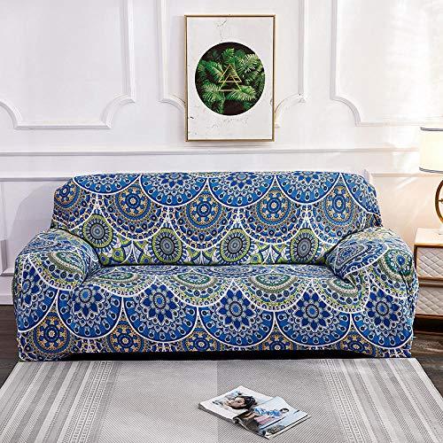 Funda elástica para sillones 3 plazas y 4 plazas, Fundas de sofá Fundas elásticas elásticas Bohemias, Funda de sofá Funda de sofá para Sala de Estar Funda de sillón 2PCS