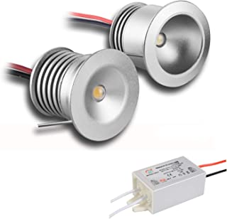 Paquete de 6 lámparas con mini bombillas LED, de KPSUN; 12V 1W, empotrables, posición downlight, color de LED, impermeables (IP65) y certificación CE, RoHS, Warm White, 60°