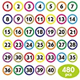 480 PCS Polka Dot 1-40 Numbers Stickers for Office, Classroom, Organizing (Each Measures 1' in Diameter)
