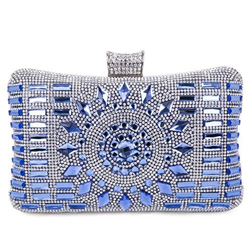 Pochette Elegante Pochette da Cerimonia Donna Diamante Borsetta da Sera Borsetta da Matrimonio con Catena per Nozze Festa Partito, Blu