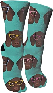 German Shorthaired Pointer in Glasses Memories Compression Socks Unisex Printed Socks Crazy Patterned Fun Long Cotton Socks Over The Calf Tube Stockings One Size Fits All