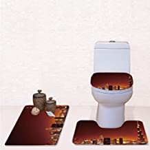 Print 3 Pieces Bathroom Rug Set Contour Mat Toilet Seat Cover,Arabic Dubai Downtown with Cityscape Skyscrapers Sunset Middle East City Photo with Multicolor,decorate bathroom,entrance door,kitchen,be