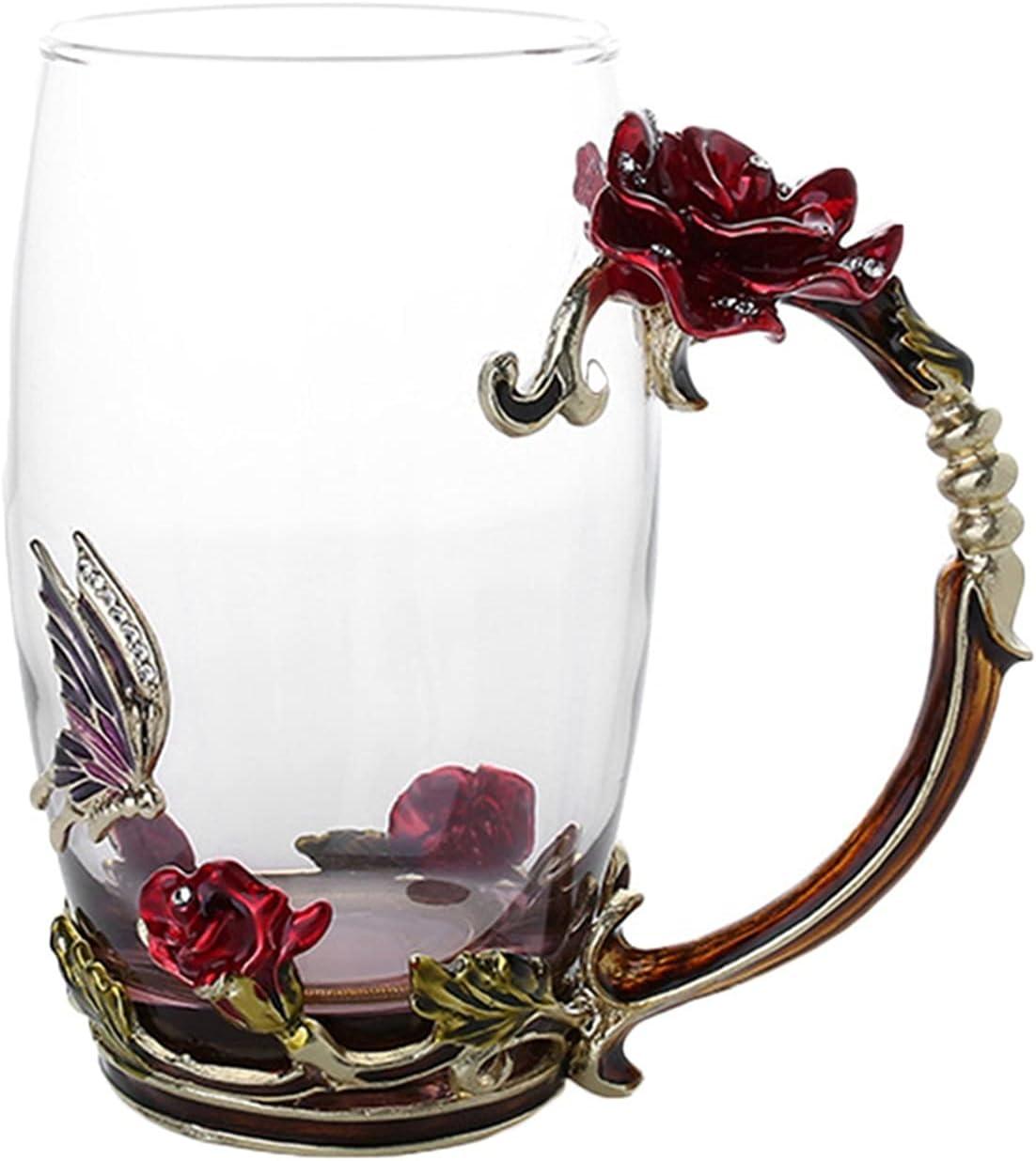 Mug Enamel Coffee Tea Gifts Cup 3D Weddi Nashville-Davidson Mall Cups Butterfly Rose Glass