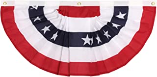 GiftExpress Made in USA 1.5 ft x 3 ft Polycotton Stars & Stripes Pleated Fan/American Flag Bunting Outdoor Indoor/July 4 Patriotic Decoration (1.5 ft x 3 ft)