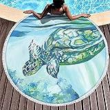 MINNOMO, telo da spiaggia rotondo super morbido, con nappe, tartaruga marina, luce solare, stampa indiana, frangia, copridivano, bianco, Taglia unica