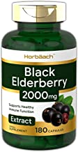 Horbaach Black Elderberry Capsules 2000mg | 180 Pills | Immune Support | Non-GMO, Gluten Free | Sambucus Extract Supplement
