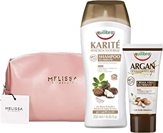 EQUILIBRA Kit : Karité Shampoo Nutriente - Argan Crema Viso Nutriente + Pochette