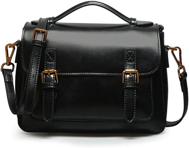 LVCSIUE Women's Vintage Genuine Leather Messenger Handbag Fashion Real Cow Leather Cross-Body Bags