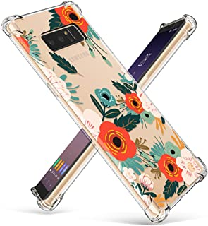 GVIEWIN Compatible for Galaxy Note 8 Case, Clear Flower Pattern Design Soft & Flexible TPU Ultra-Thin Shockproof Transparent Floral Cover, Cases Note 8 (Flowering/Reseda Green)
