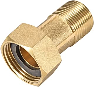 uxcell Brass Pipe Fitting, Hex Nipple, G1 3/4 Male x G1 3/4 Female Threaded Connector Water Meter Coupling 60mm Length