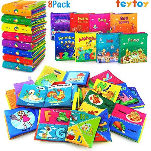 teytoy - Libro suave, tela no tóxica para bebé, actividades, libros suaves, con paquete de regalo para niños y niñas, juguetes educativos tempranos (paquete de 8)