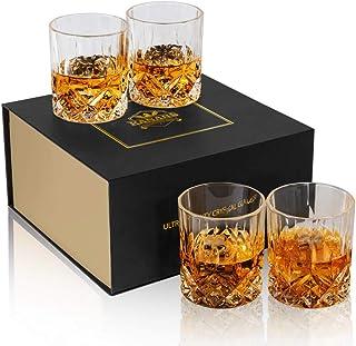 KANARS WG02 Juego de 4 Vasos de Whisky, Vaso de Whisky Robusto Cristalino 100%