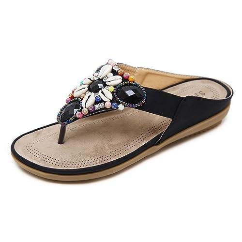 b3a82c54db1c Hishoes Women Summer Bohemia Low Wedge Sandals Post Thong Flip Flops  Slippers Comfy Beach Shoes Girls