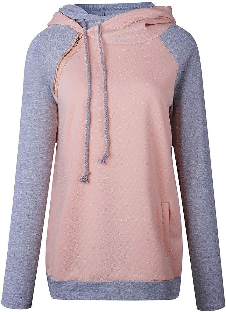 POTO Women Pullover Tops,Women's Casual Patchwork Hooded High Neck Long Sleeve Top Sweatshirts Hoodies