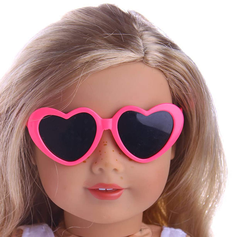 付添人トレーダーラップトップkimtery ICY BJDブライスドールアイサングラス18インチUSAガールドールアクセサリー用の新しいハート型メガネ