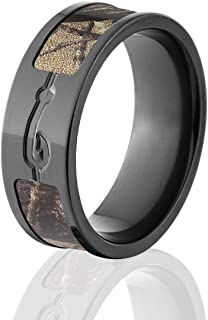 The Jewelry Source Black Camo Rings, Fish Hook Ring, Official Realtree