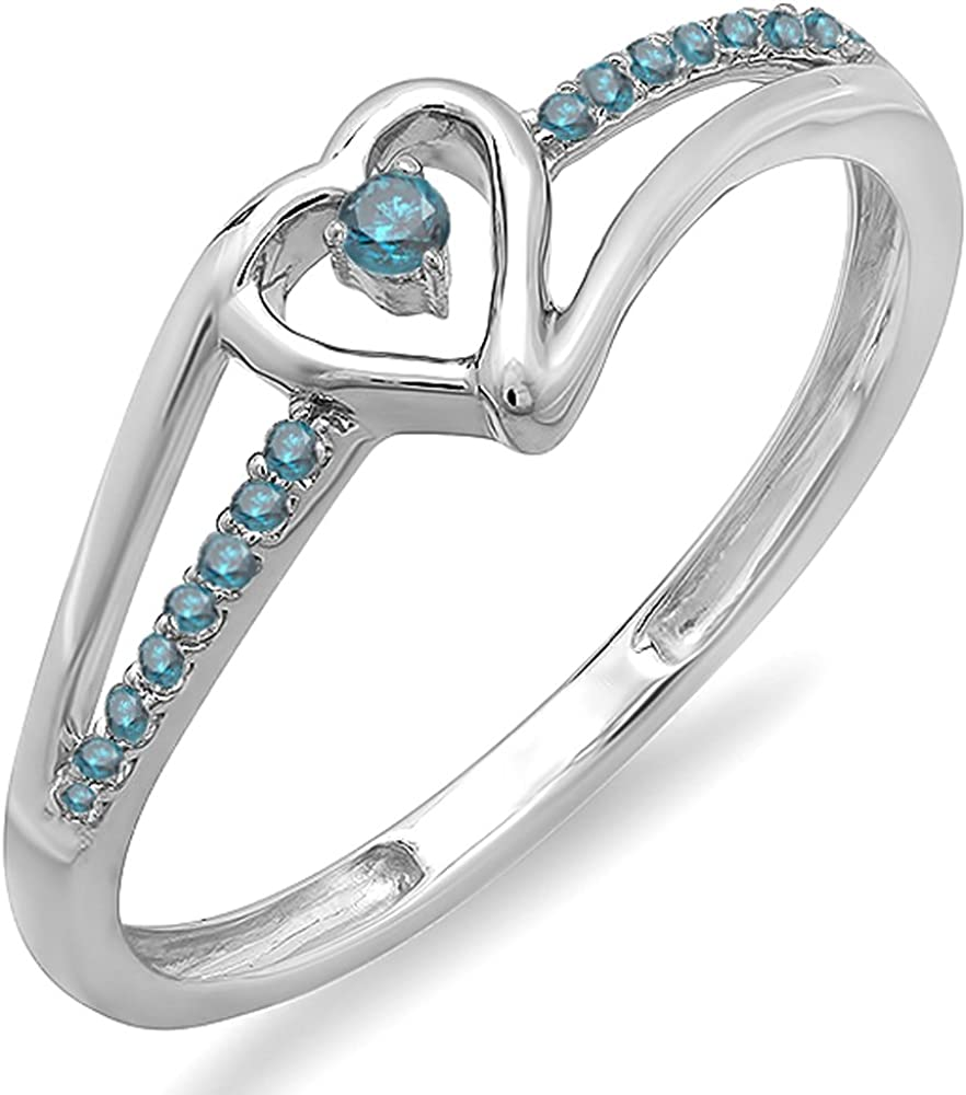 Dazzlingrock Collection 0.10 Carat (ctw) 14k Round Blue Diamond Ladies Bridal Promise Heart Split Shank Ring 1/10 CT, White Gold