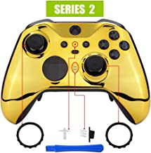 eXtremeRate Chrome Gold Edition Glossy Faceplate Cover, Front Housing Shell Case Replacement Kit for Xbox One Elite Series...