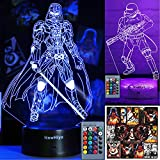 3D Illusion Star Wars Night Light - 16 Color Change Decor Lamp with Remote & Smart Touch, Christmas...