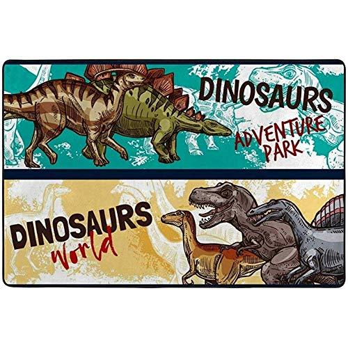 Ducan Lincoln Teppich Teppich Dinosaur World Adventure Kids Spielmatte Baby Krabbeldecke Rutschfester Teppich Für Wohnzimmer Schlafzimmer Esszimmer Bodenmatte Leichtgewicht,36 x 24 In/60X91 cm