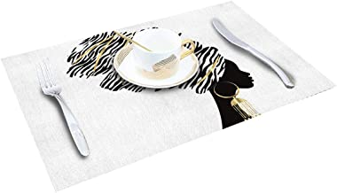 ARTSHOWING Dining Placemats Set of 4 African Women Table Mats Linen Burlap Kitchen Place Mats Washable Table Mats Protect A Table from Messes - Graffiti Black Girl Afro