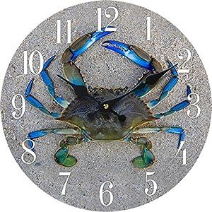 "New 13""X 13"" Crab Wood Wall Clock Home Wall Decor Marine Coastal Nautical Beach"