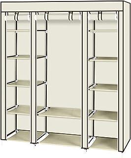 Kiwifruit Armoire de Rangement Armoire Toile Armoire Vêtements Organisateur Penderie de vêtement Pliable (Beige)