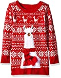 Blizzard Bay Girls Ugly Chrismas Sweater, red/White/Llama, 4