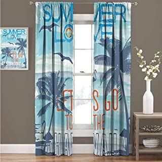 Summer Decor Collection Room darkened curtain Summer Love Lets Go to the Hawaii Sunset at Tropical Beach with Flying Birds Walking Flamingos Image Insulated room bedroom darkened curtains W52 x L54 I