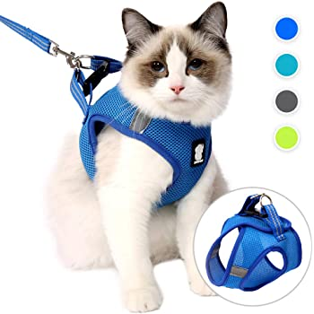 SELMAI Mesh Harness for Cats Small Dogs No Pull No Choke Escape Proof Padded Vest for Puppy Leash Lead for Kitten Walking Outdoor Adjustable Training Collar Corduroy Soft Material,Red,L