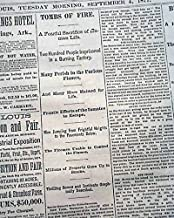 NYC Hale's Piano Factory FIRE Disaster & Early Ballooning Flight 1877 Newspaper