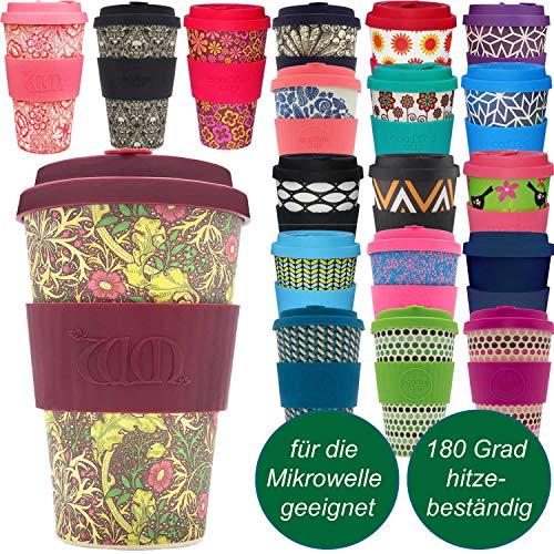 LS-Design Coffee to Go Becher 400ml Seaweed Blumen Ecoffee Cup 2.0 Mikrowelle Bambus