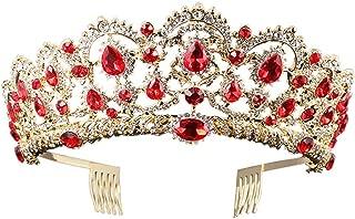 Baroque Royal Queen Gold Wedding Crown Crystal Princess Tiara Headbands for Women Bridal Party Birthday Headpieces (Red)
