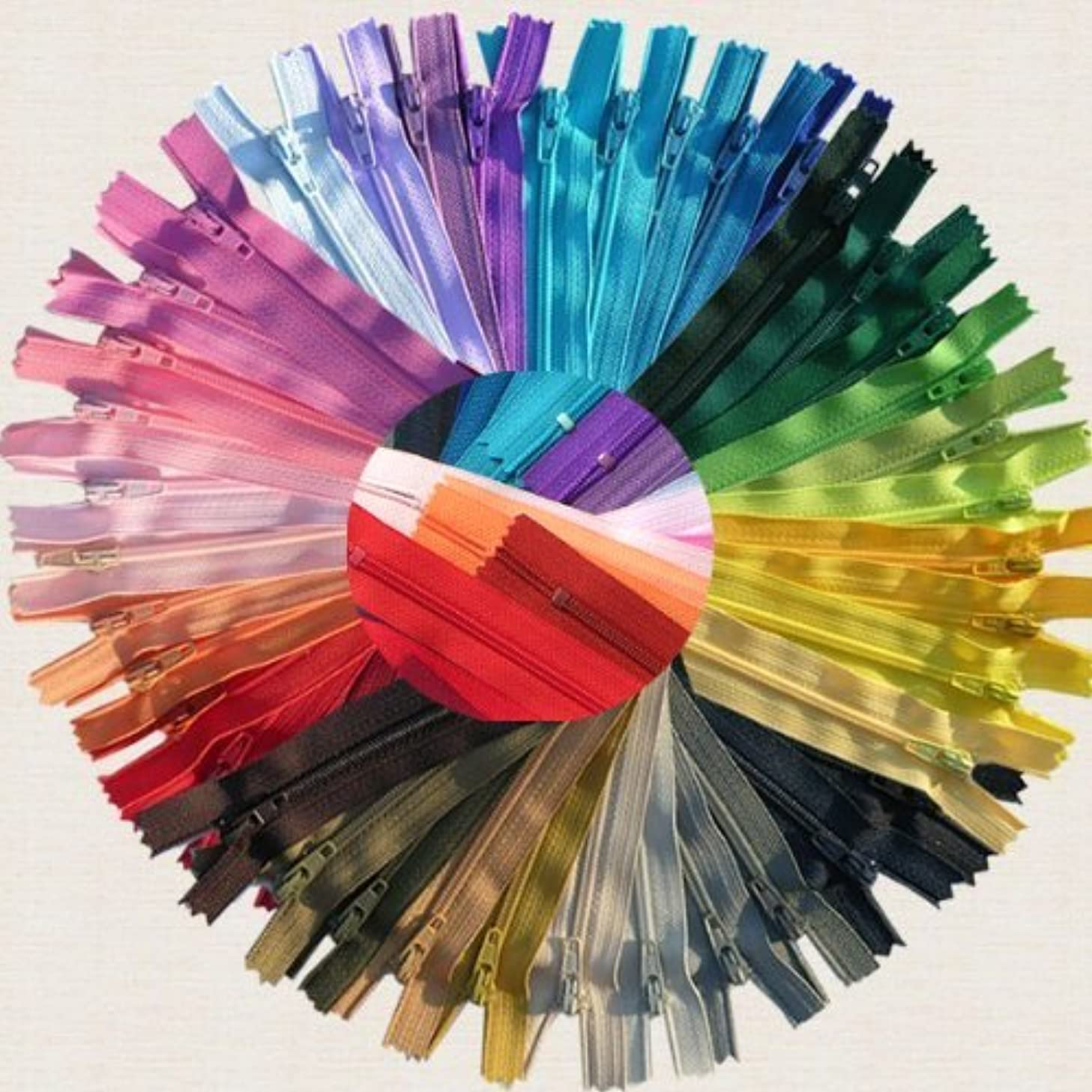 ZipperStop Wholesale Authorized Distributor YKK? 24 Inch #3 Skirt & Dress Nylon Coil Zippers - Assortment of Colors (25 Zippers)