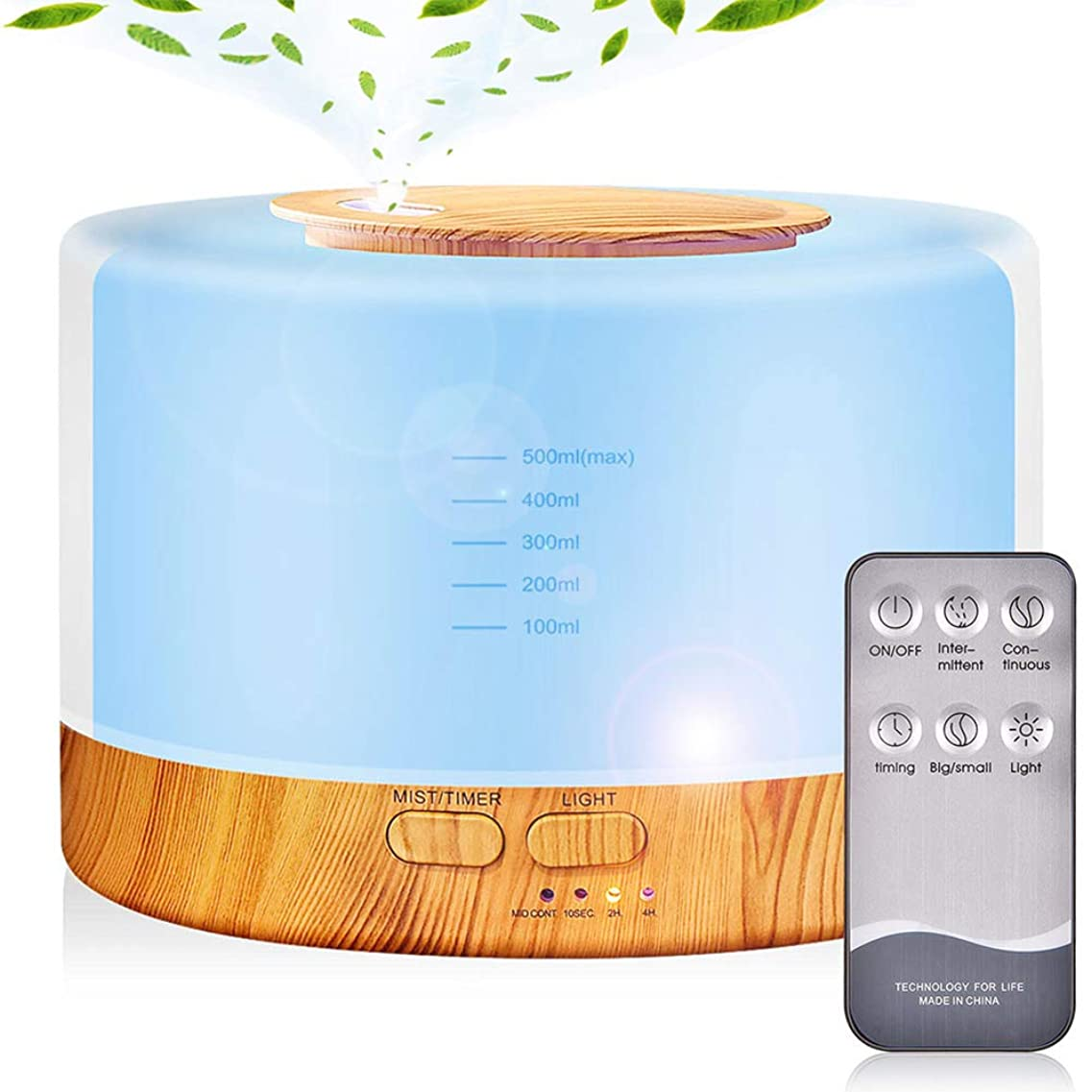 同時フラッシュのように素早くウールアロマディフューザー 加湿器, 卓上 大容量 超音波加湿器, 500ML 保湿 時間設定 空焚き防止 7色変換LED搭載 (木目調)