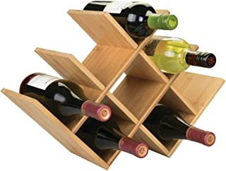 mDesign Bamboo Free-Standing Water Bottle and Wine Rack Storage Organizer for Kitchen Counter Tops, Pantry, Fridge - Moder...