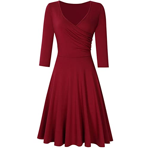 b94b629f1 HiQueen Women V-Neck A-Line Fit Flare Swing Party Dress
