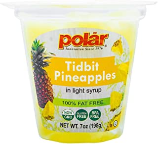 MW Polar Pineapple Tidbits Fruit Cup in Light Syrup,  7 oz (Pack of 12)
