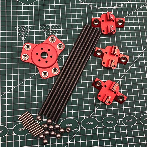 XBaofu 1set XL magnético Tubo Efector + Transporte + Carbono Diagonal Varillas de Empuje Kit for DIY Delta Kossel Impresora 3D (Color : Rojo, tamaño : 240MM Rod)