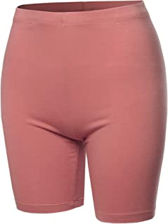 Women's Solid Premium Cotton Mid Thigh High Rise Biker Bermuda Shorts