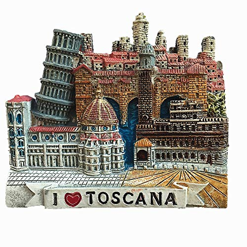 Calamita da frigorifero 3D Toscana Italia souvenir regalo, decorazione casa e cucina adesivo magnetico, Toscana Italia magnete frigorifero
